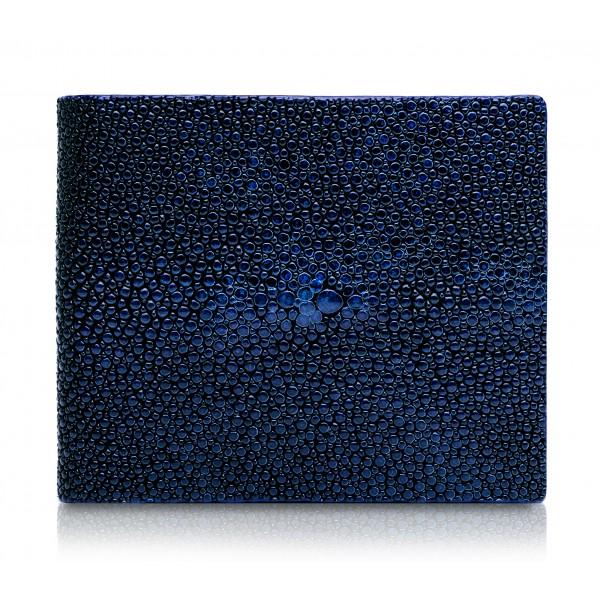 Ammoment - Stingray in Glitter Metallic Blue - Leather Bifold Wallet