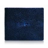 Ammoment - Razza in Glitter Blu Metallico - Portafoglio Bi-Fold in Pelle