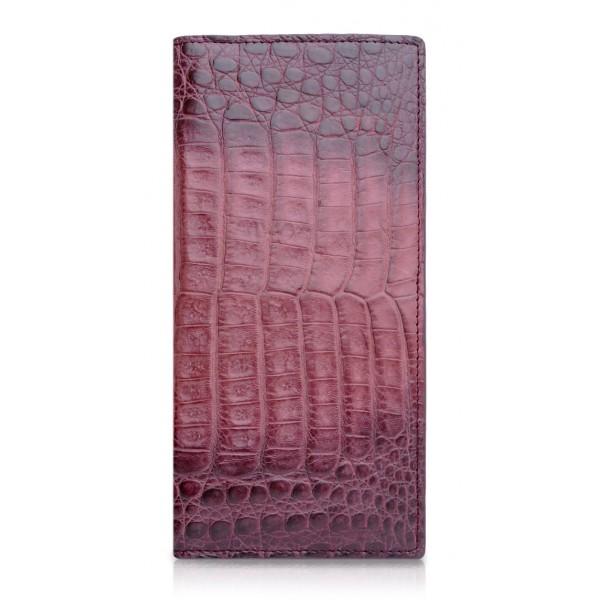 Ammoment - Caimano in Nero Terracotta Antico - Portafoglio a Petto in Pelle