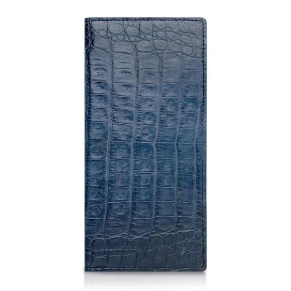 Ammoment - Caimano in Blu Chiaro-Scuro Antico - Portafoglio a Petto in Pelle