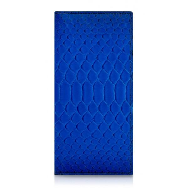 Ammoment - Pitone in Blu Petalo - Portafoglio a Petto in Pelle