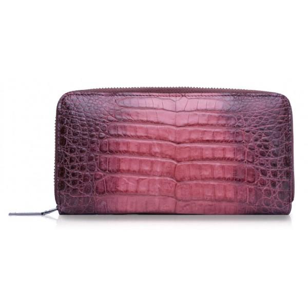 Ammoment - Caimano in Nero Terracotta Antico - Portafoglio Zip Lunga in Pelle