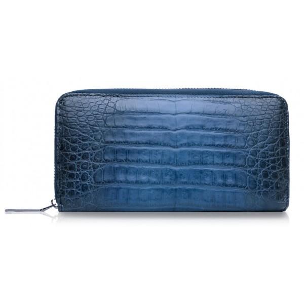 Ammoment - Caimano in Blu Chiaro-Scuro Antico - Portafoglio Zip Lunga in Pelle