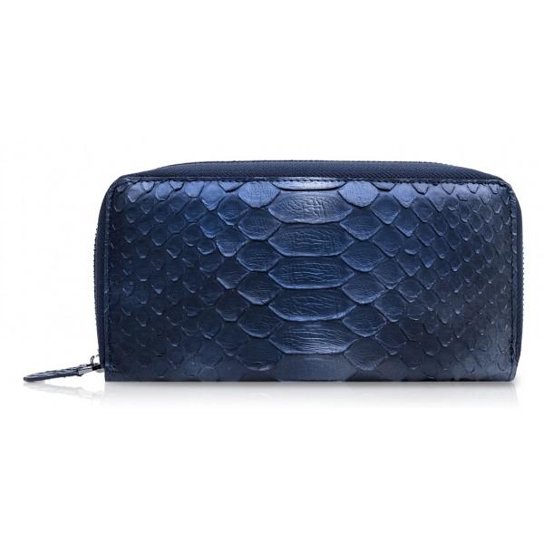 Ammoment - Pitone in Calce Blu - Portafoglio Zip Lunga in Pelle