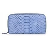 Ammoment - Pitone in Pomice Blu - Portafoglio Zip Lunga in Pelle