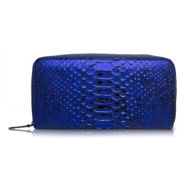 Ammoment - Pitone in NYX Blu - Portafoglio Zip Lunga in Pelle