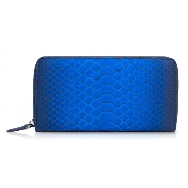 Ammoment - Pitone in Blu Petalo - Portafoglio Zip Lunga in Pelle