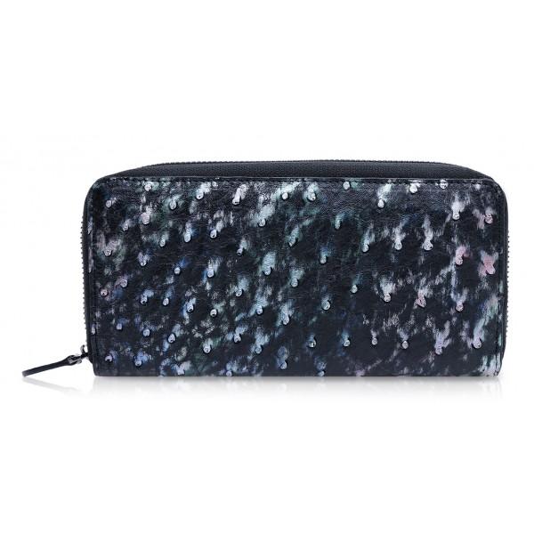 Ammoment - Struzzo in Nero Perla di Tahiti - Portafoglio Zip Lunga in Pelle