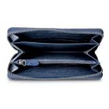 Ammoment - Razza in Glitter Blu Metallico - Portafoglio Zip Lunga in Pelle