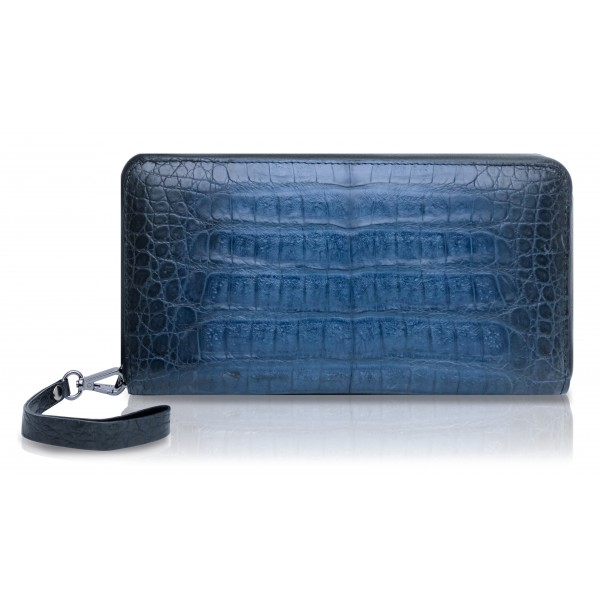 Ammoment - Caimano in Blu Chiaro-Scuro Antico - Grande Portafoglio Zip Lunga in Pelle