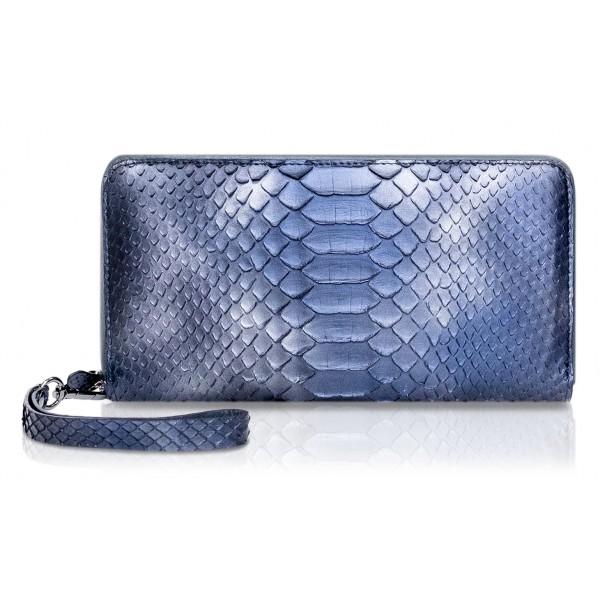 Ammoment - Pitone in Calce Blu - Grande Portafoglio Zip Lunga in Pelle