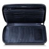 Ammoment - Pitone in NYX Blu - Grande Portafoglio Zip Lunga in Pelle