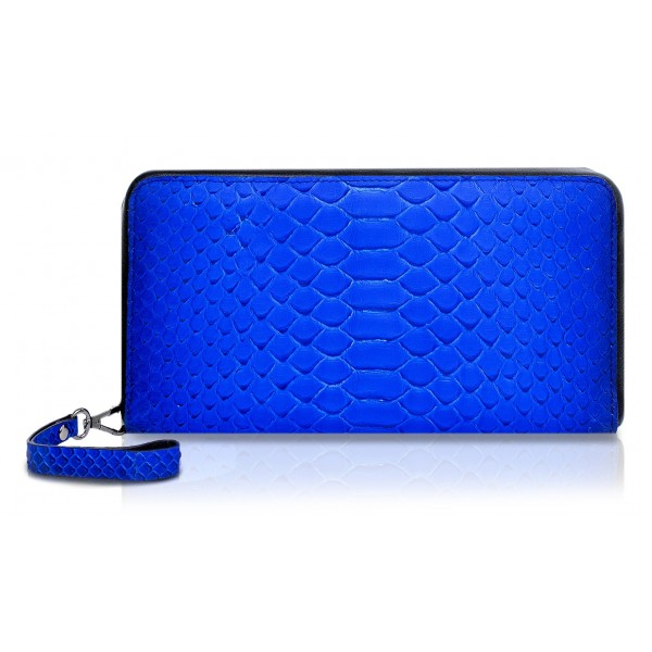 Ammoment - Pitone in Blu Petalo - Grande Portafoglio Zip Lunga in Pelle