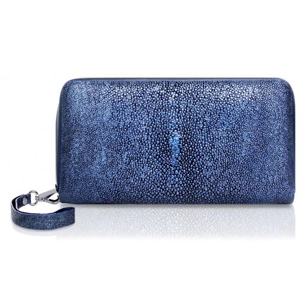 Ammoment - Razza in Glitter Blu Metallico - Grande Portafoglio Zip Lunga in Pelle