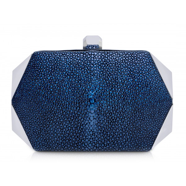 Ammoment - Stingray in Glitter Metallic Blue - Minaudiere - Leather Bag