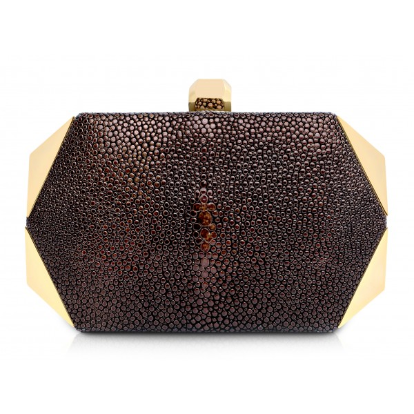 Ammoment - Razza in Glitter Marrone Metallico - Minaudiere - Borsetta in Pelle