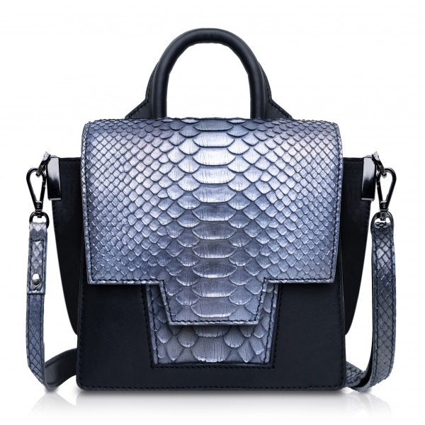 Ammoment - Python in Calcite Grey - Leather Lexi Crossbody Bag