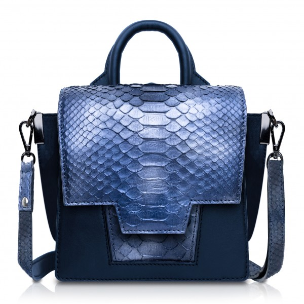 Ammoment - Python in Calcite Blue - Leather Lexi Crossbody Bag