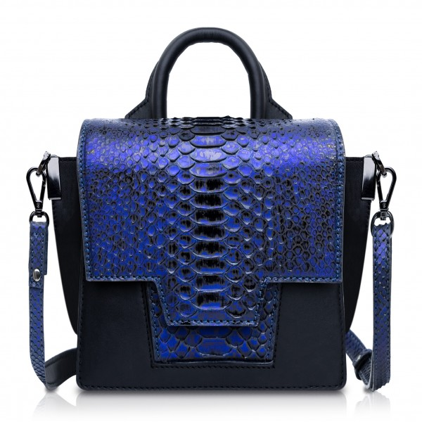 Ammoment - Python in NYX Blue - Leather Lexi Crossbody Bag