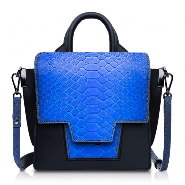 Ammoment - Python in Petale Blue - Leather Lexi Crossbody Bag
