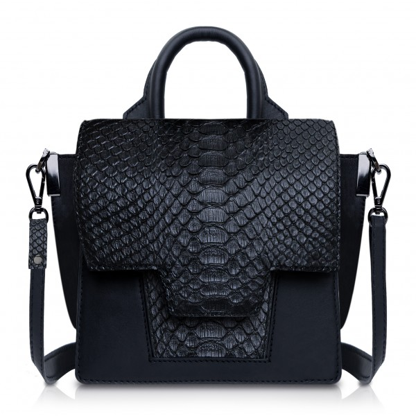 Ammoment - Python in Black - Leather Lexi Crossbody Bag