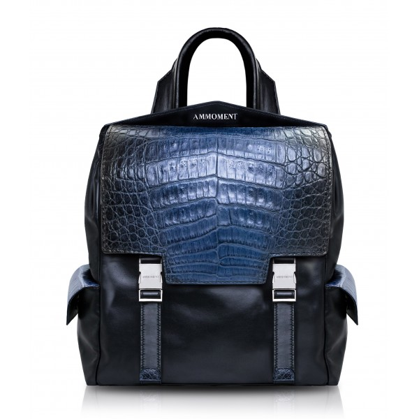 Ammoment - Caimano in Nero Navy Antico - Zainetto Zane Small in Pelle