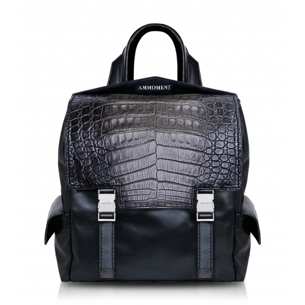 Ammoment - Caiman in Degrade Coal New Age - Leather Zane Small Backpack