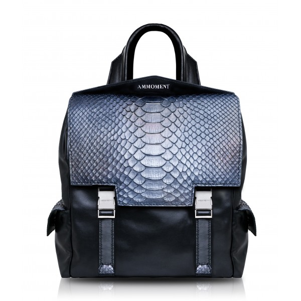 Ammoment - Python in Calcite Grey - Leather Zane Small Backpack