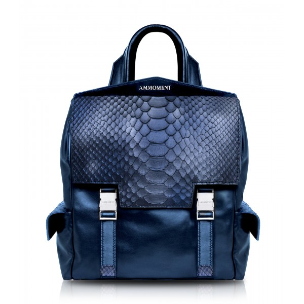 Ammoment - Python in Calcite Blue - Leather Zane Small Backpack