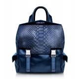 Ammoment - Pitone in Calce Blu - Zainetto Zane Small in Pelle