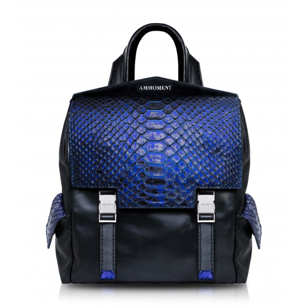 Ammoment - Python in NYX Blue - Leather Zane Small Backpack