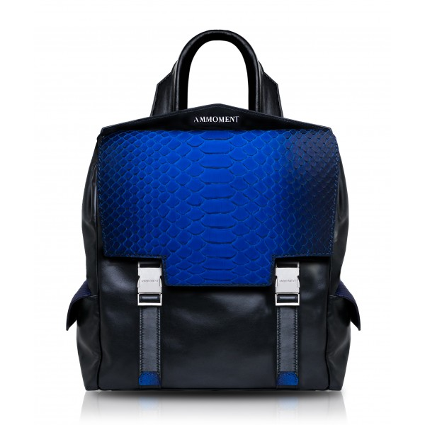 Ammoment - Python in Petale Blue - Leather Zane Small Backpack