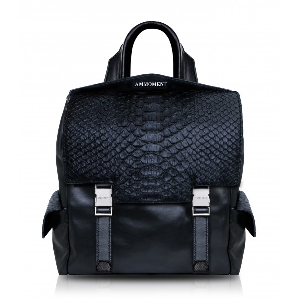 Ammoment - Python in Black - Leather Zane Small Backpack