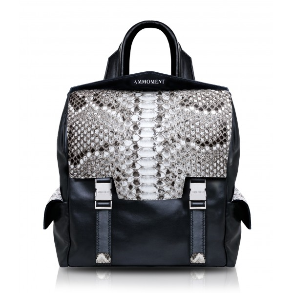 Ammoment - Python in Roccia - Leather Zane Small Backpack