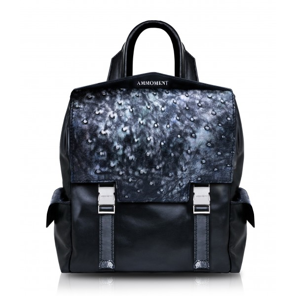 Ammoment - Ostrich in Tahitian Pearl Black - Leather Zane Small Backpack