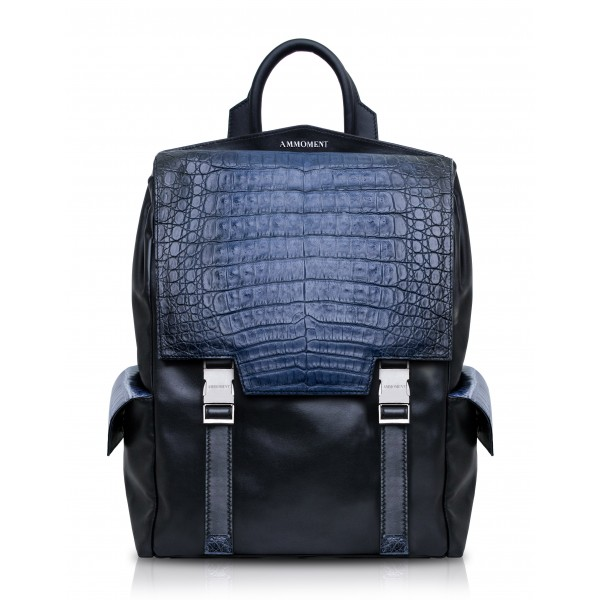 Ammoment - Caiman in Degrade Navy-Black - Leather Zane Large Backpack