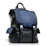 Ammoment - Caimano in Nero Navy Antico - Zainetto Zane Large in Pelle