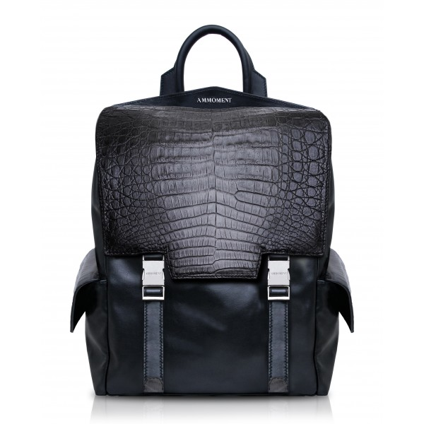 Ammoment - Caiman in Degrade Coal New Age - Leather Zane Large Backpack