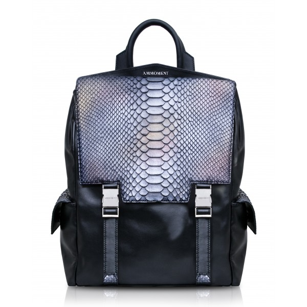 Ammoment - Python in Calcite Grey - Leather Zane Large Backpack