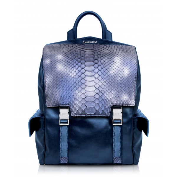 Ammoment - Python in Calcite Blue - Leather Zane Large Backpack