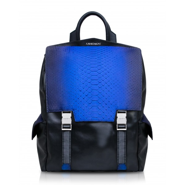 Ammoment - Python in Petale Blue - Leather Zane Large Backpack