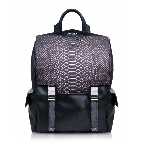Ammoment - Python in Pepite Rose - Leather Zane Large Backpack