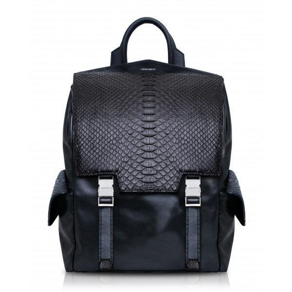 Ammoment - Python in Black - Leather Zane Large Backpack