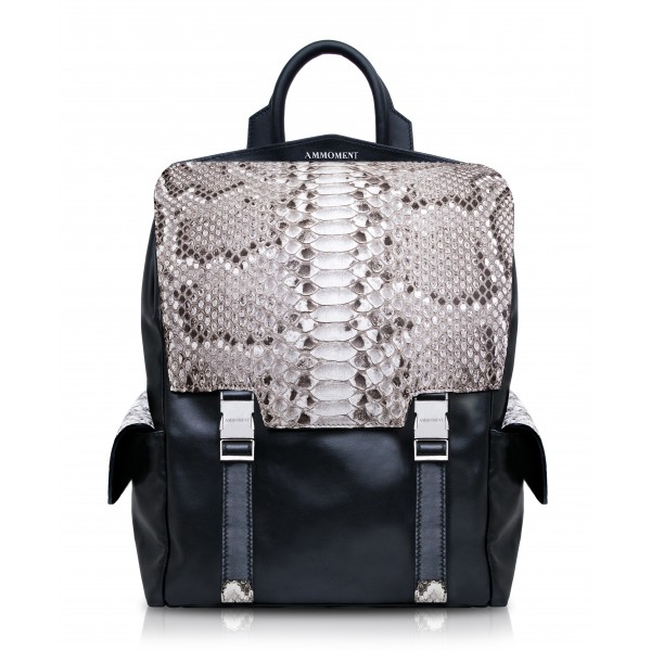 Ammoment - Python in Roccia - Leather Zane Large Backpack