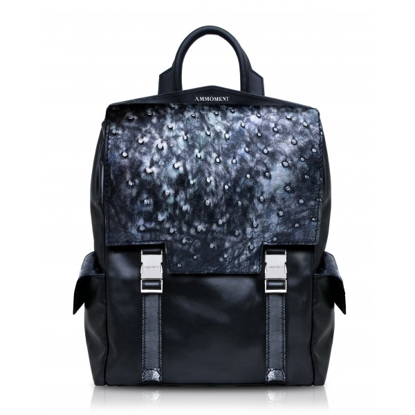 Ammoment - Ostrich in Tahitian Pearl Black - Leather Zane Large Backpack