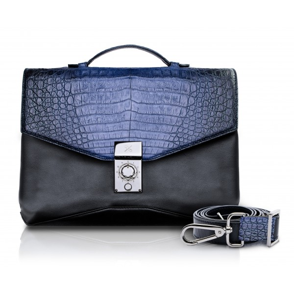 Ammoment - Caimano in Nero Navy Antico - Ventiquattrore in Pelle - Orion Business Bag