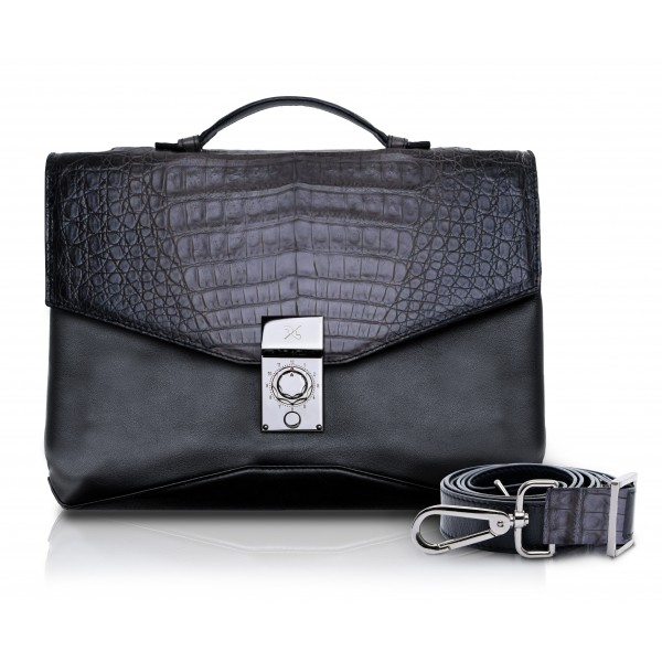 Ammoment - Caiman in Degrade Coal New Age - Leather Briefcase -  Orion Business Bag