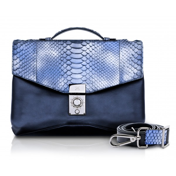 Ammoment - Python in Calcite Blue - Leather Briefcase -  Orion Business Bag