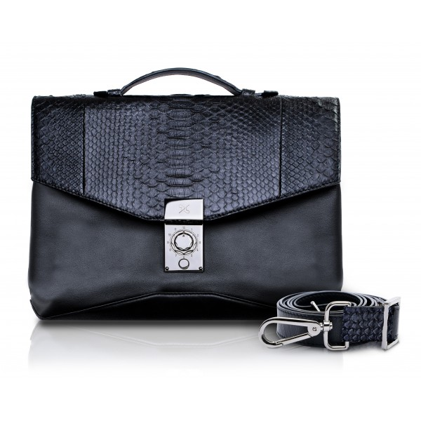 Ammoment - Python in Black - Leather Briefcase -  Orion Business Bag