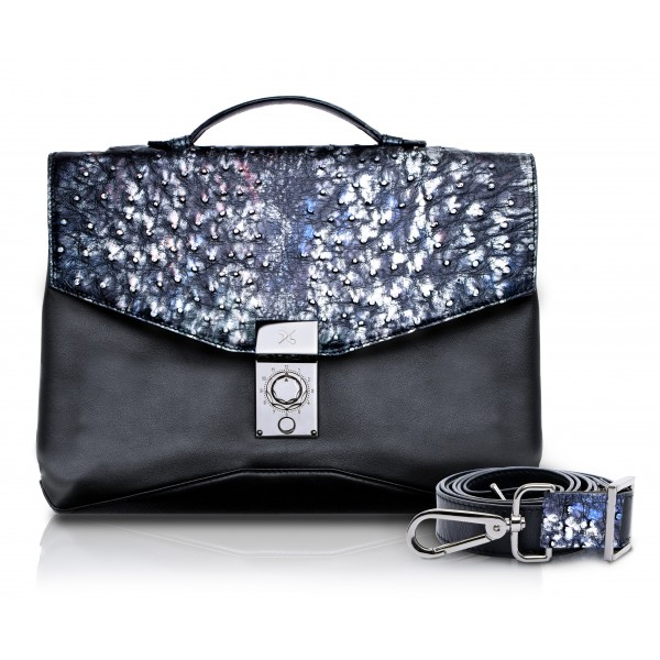Ammoment - Ostrich in Tahitian Pearl Black - Leather Briefcase -  Orion Business Bag
